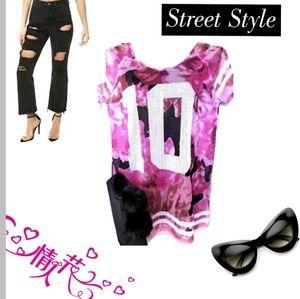 Pink #10 Mesh long Women's V neck Jersey Top